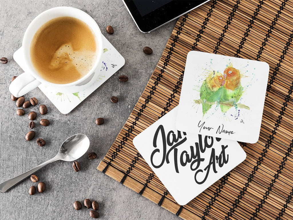 Personalised Love Birds Hardboard Coaster