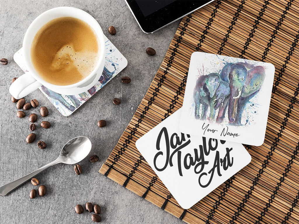 "Personalised ""Us"" Mummy & Babby Elephant Hardboard Coaster"