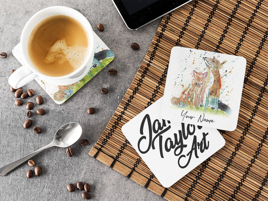 "Personalised ""Always Us"" Foxes Hardboard Coaster"