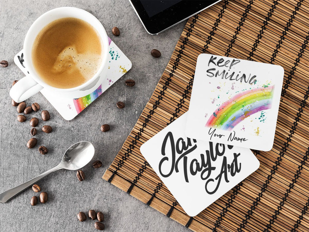 """Keep Smiling"" Rainbow Personalised Hardboard Coaster"