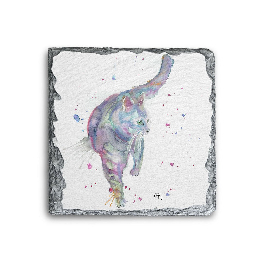 Rainbow Cat Square Slate Coaster