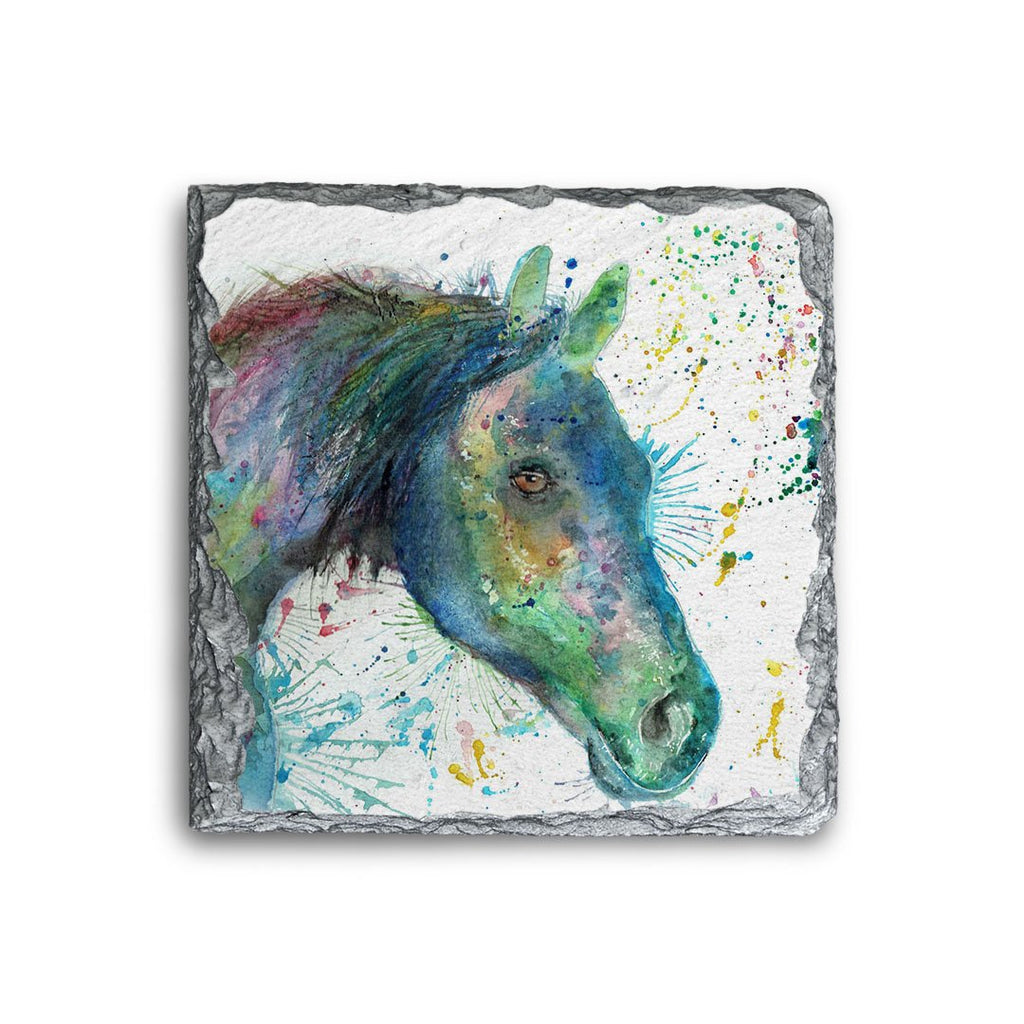 """Neigh"" Horse Square Slate Coaster"