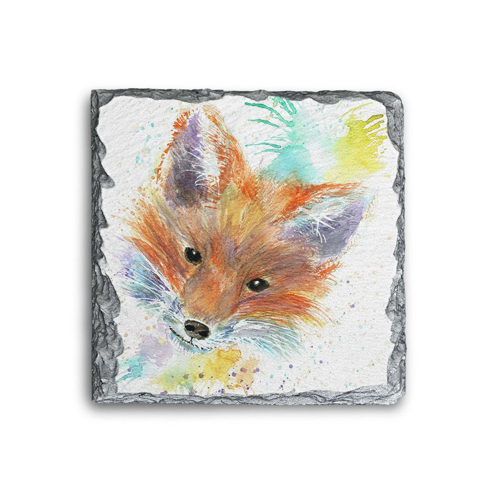 Mr Foxy Square Slate Coaster