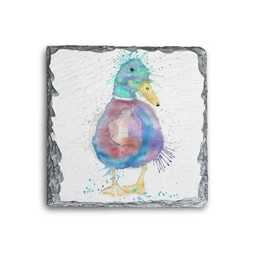 Monsieur Puddle Duck Square Slate Coaster