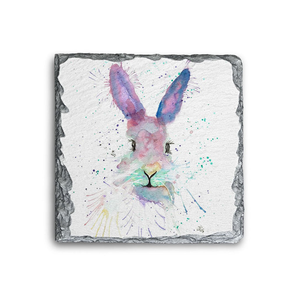Mrs Bunny Square Slate Coaster