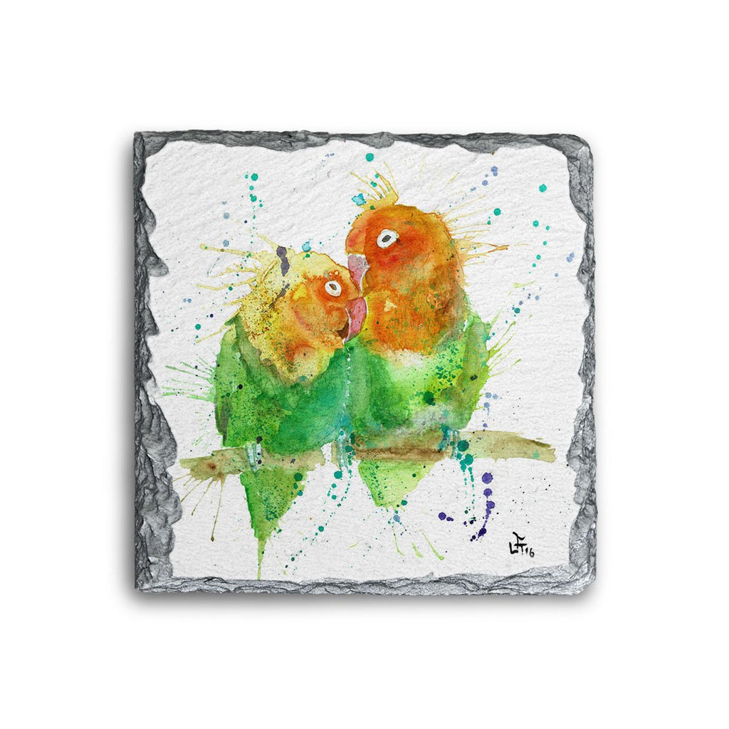 Love Birds Square Slate Coaster