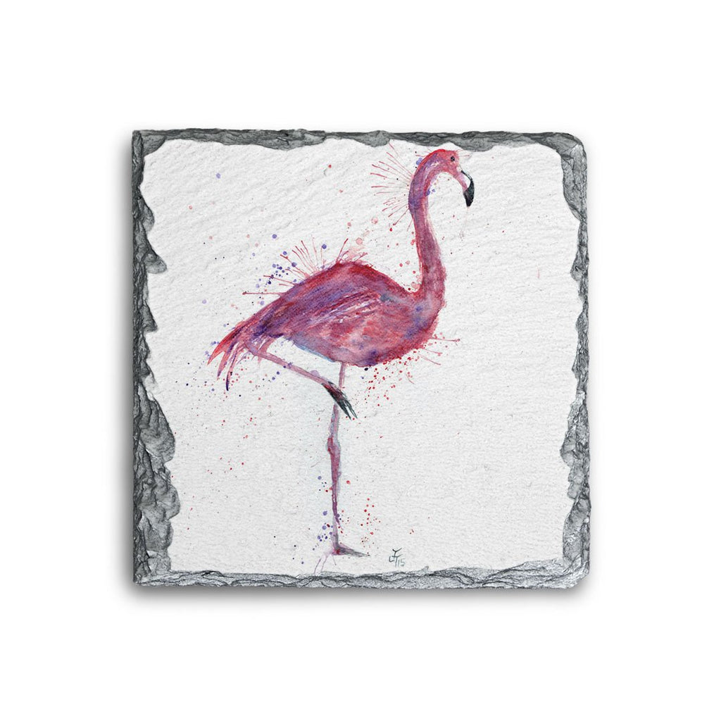 """Flo"" Flamingo Square Slate Coaster"
