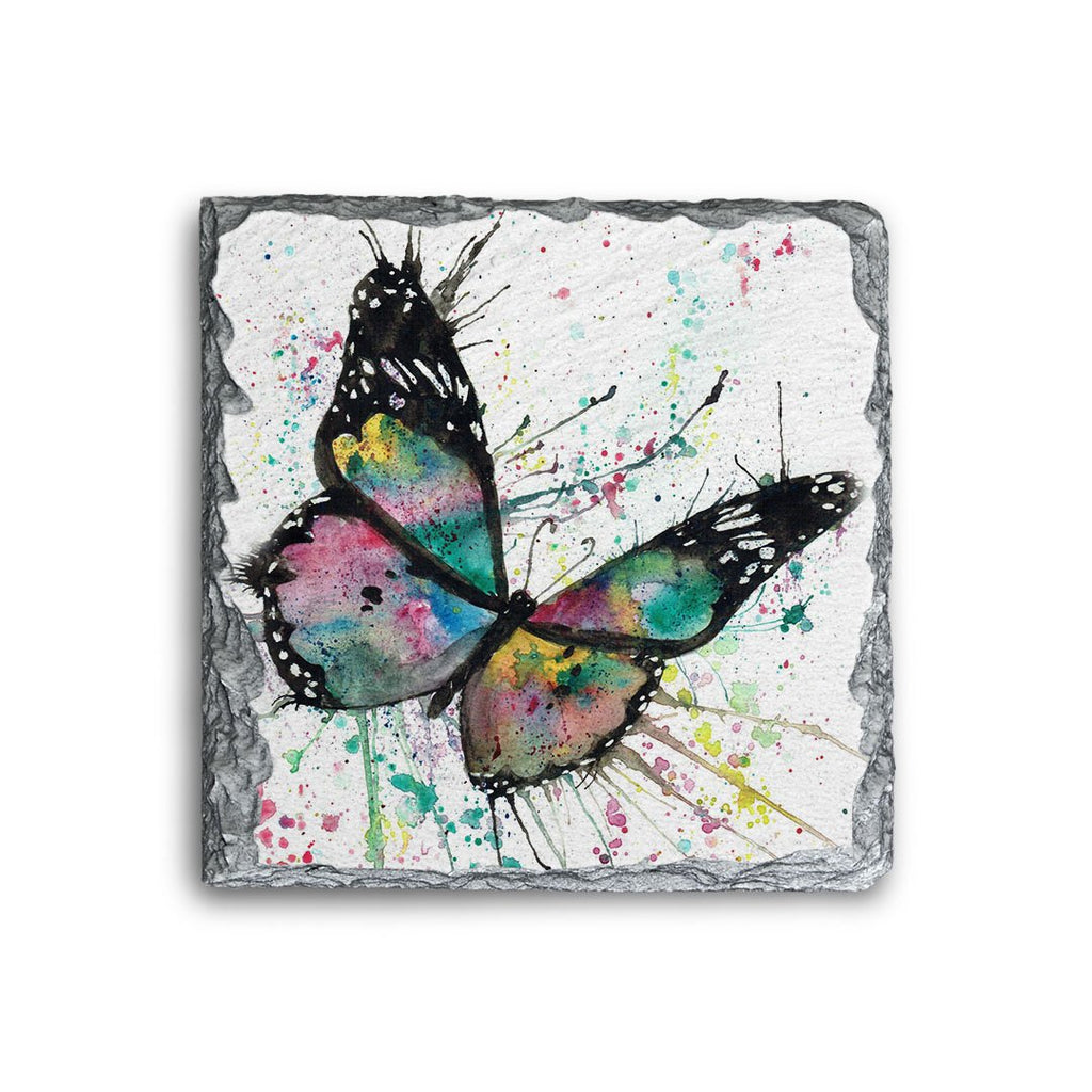 """Flutter"" Butterfly Square Slate Coaster"
