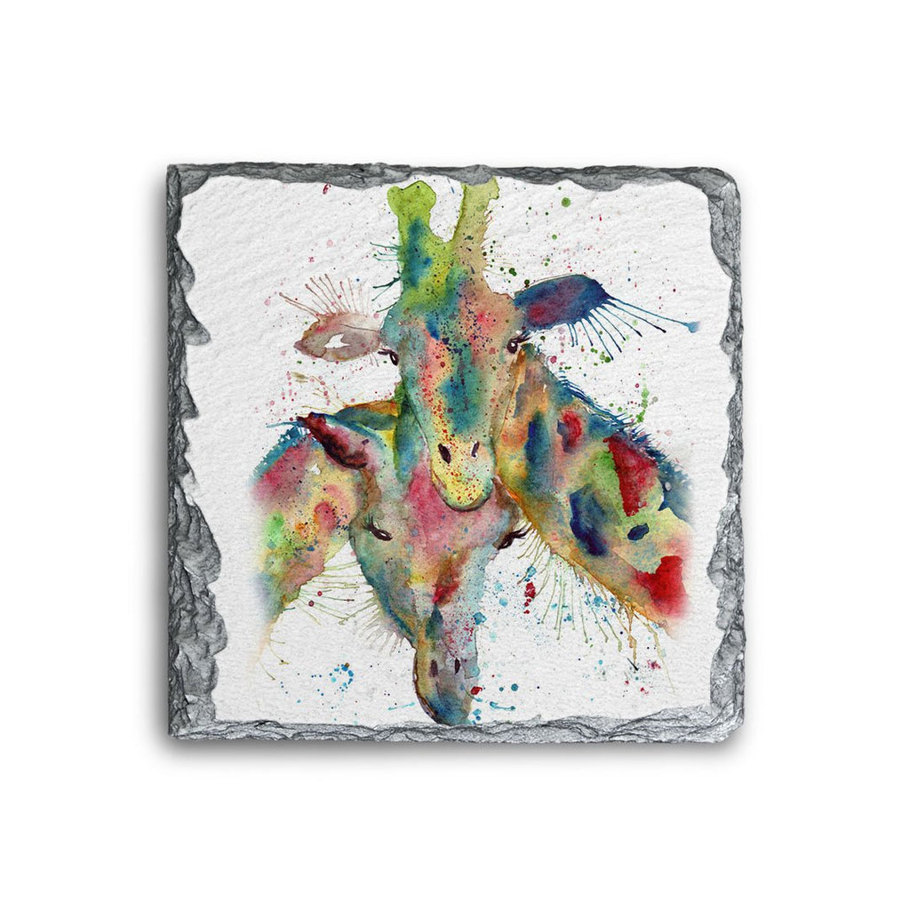 Love Giraffes Square Slate Coaster