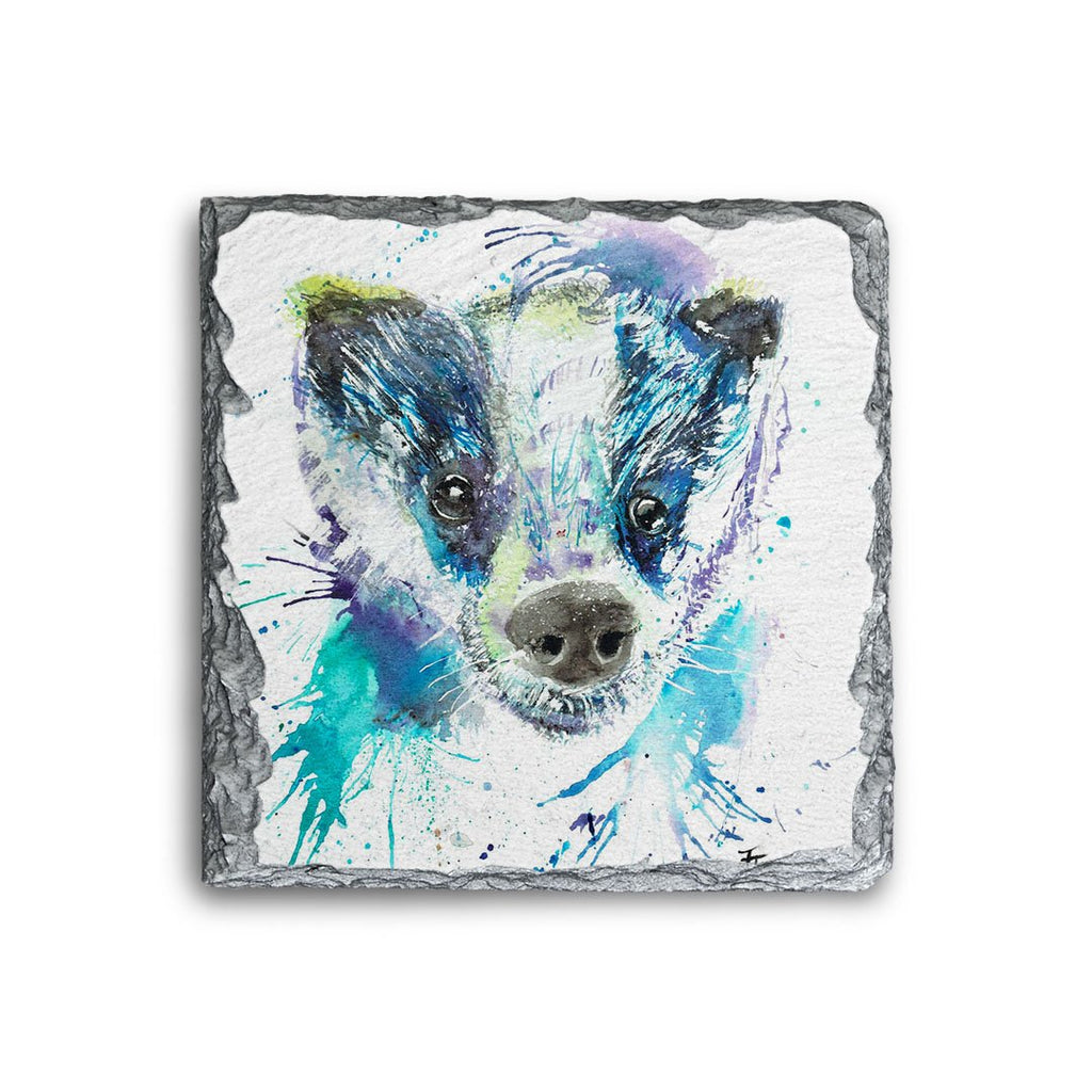 """Badge"" Badger Square Slate Coaster"