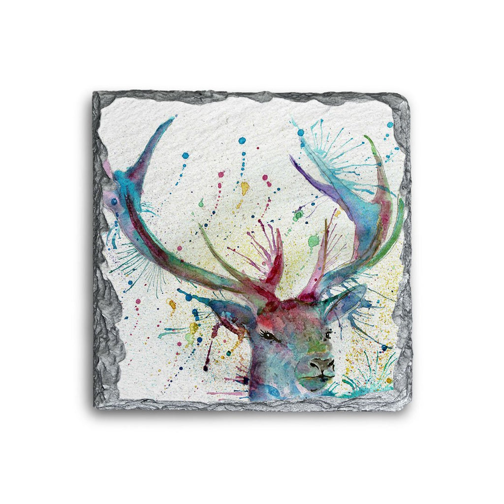 """Proud"" Stag Square Slate Coaster"