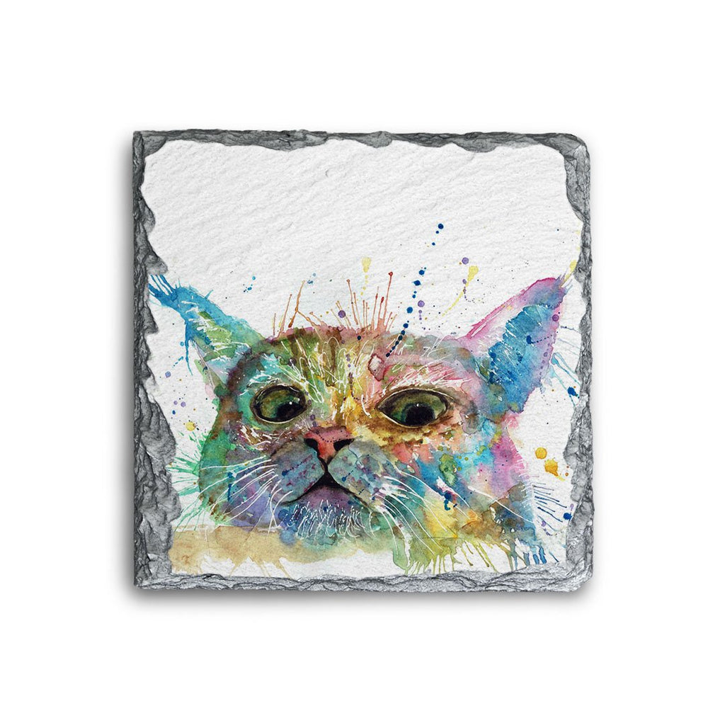 """Peep"" Cat Square Slate Coaster"