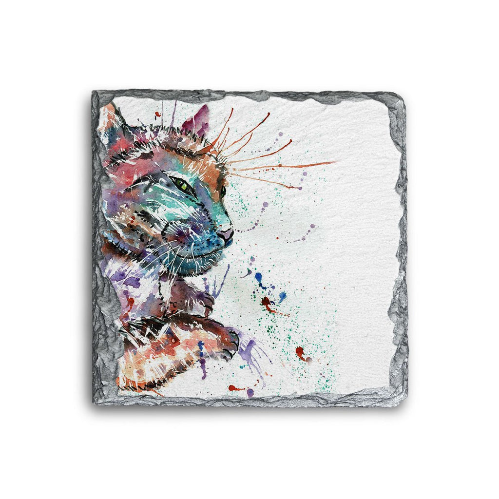"""Dave"" Cat Square Slate Coaster"
