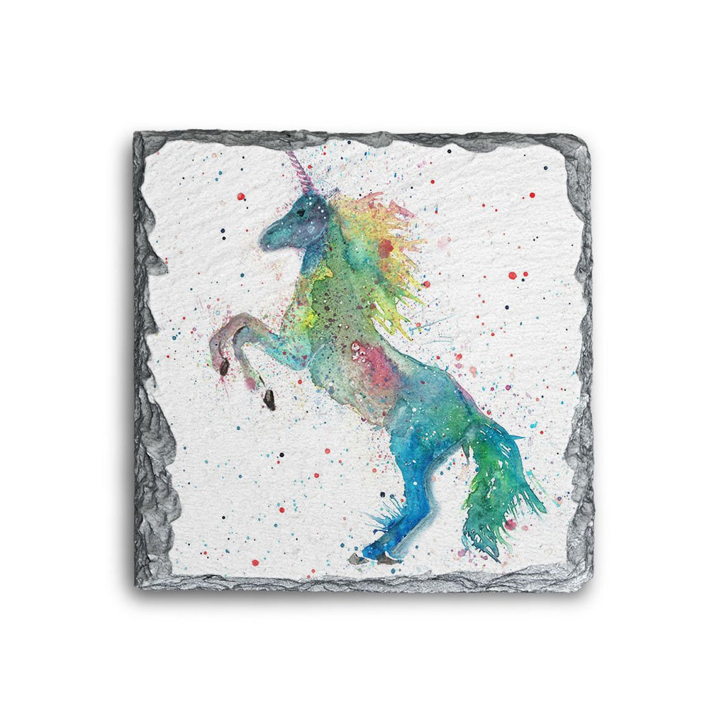 Rainbow Unicorn Square Slate Coaster