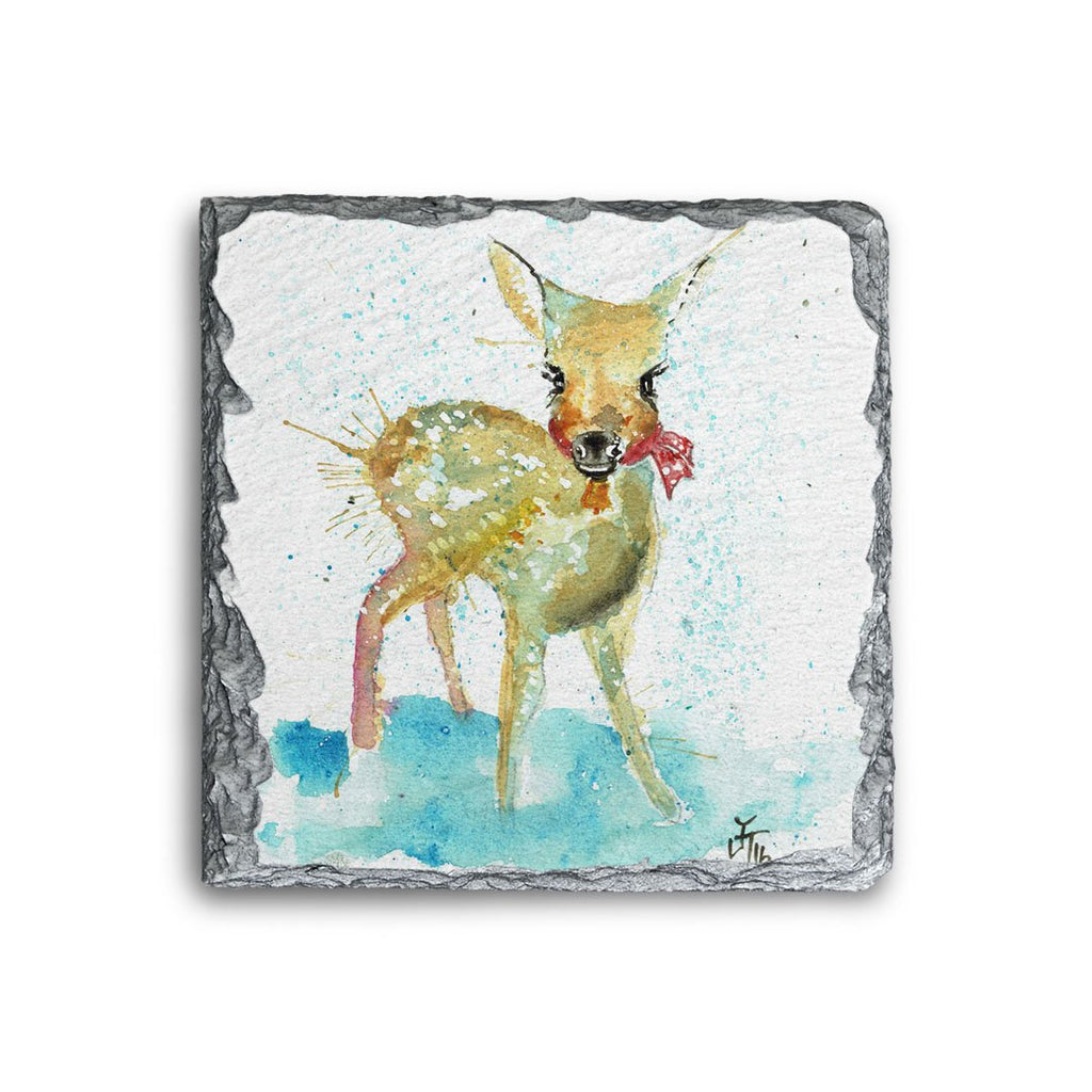 Oh Deer Square Slate Coaster
