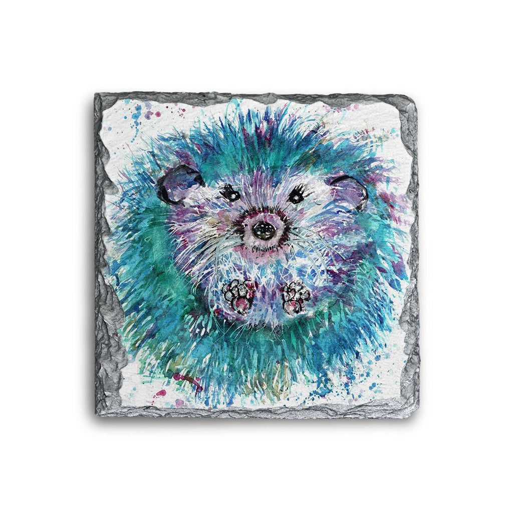"""Maisey"" Hedgehog Square Slate Coaster"