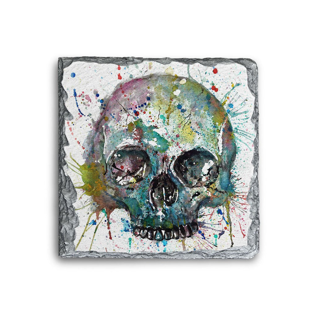 Blue Skull Square Slate Coaster