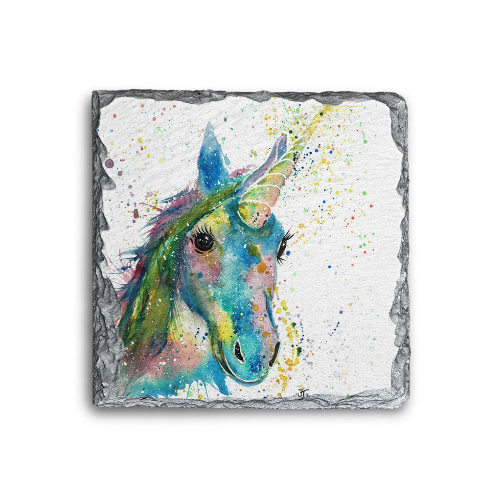 """Patty"" Unicorn Square Slate Coaster"