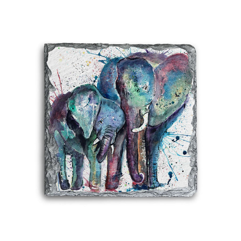 """Us"" Mummy & Babby Elephant Square Slate Coaster"