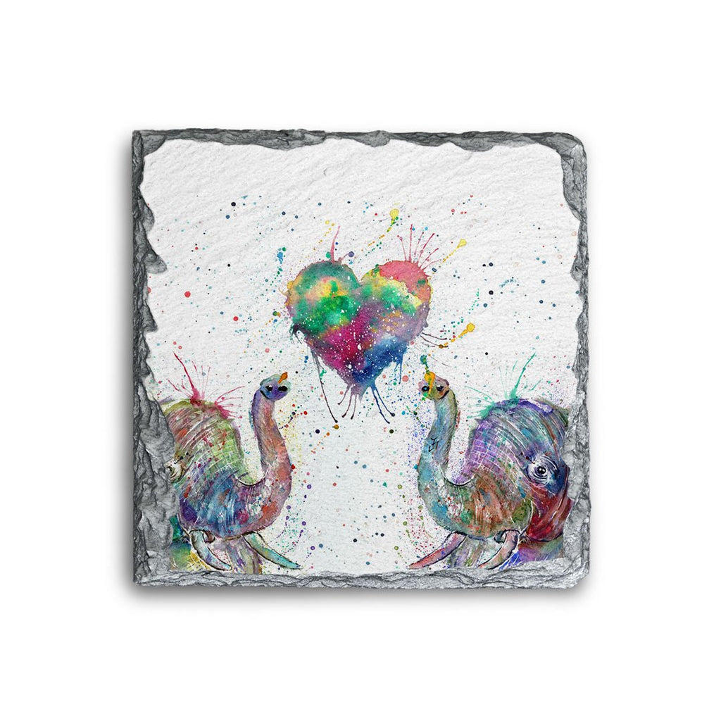 Romantic Elephants Square Slate Coaster