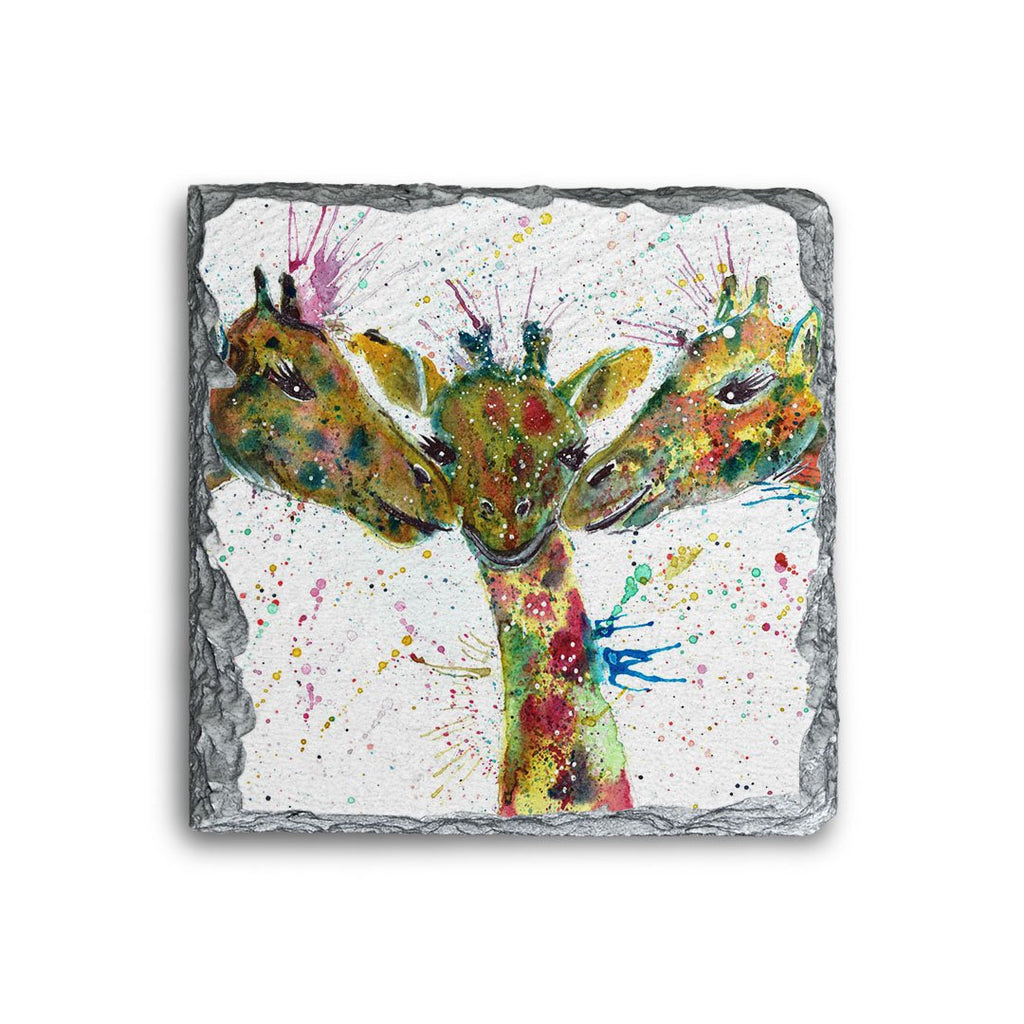 """Together"" Giraffes Square Slate Coaster"
