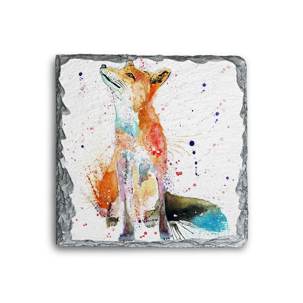 """Wishes"" Fox Square Slate Coaster"