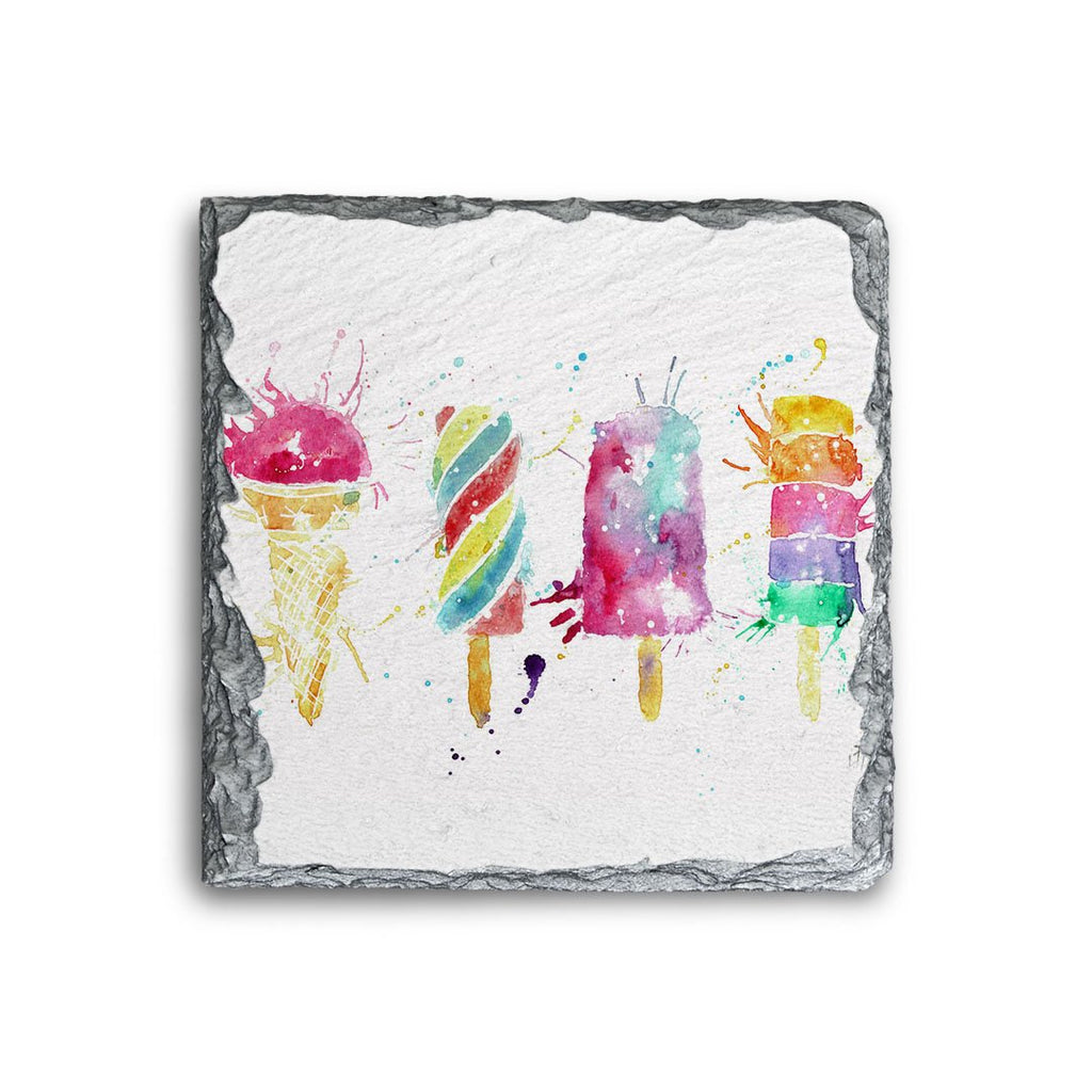 Ice Lollies Square Slate Coaster