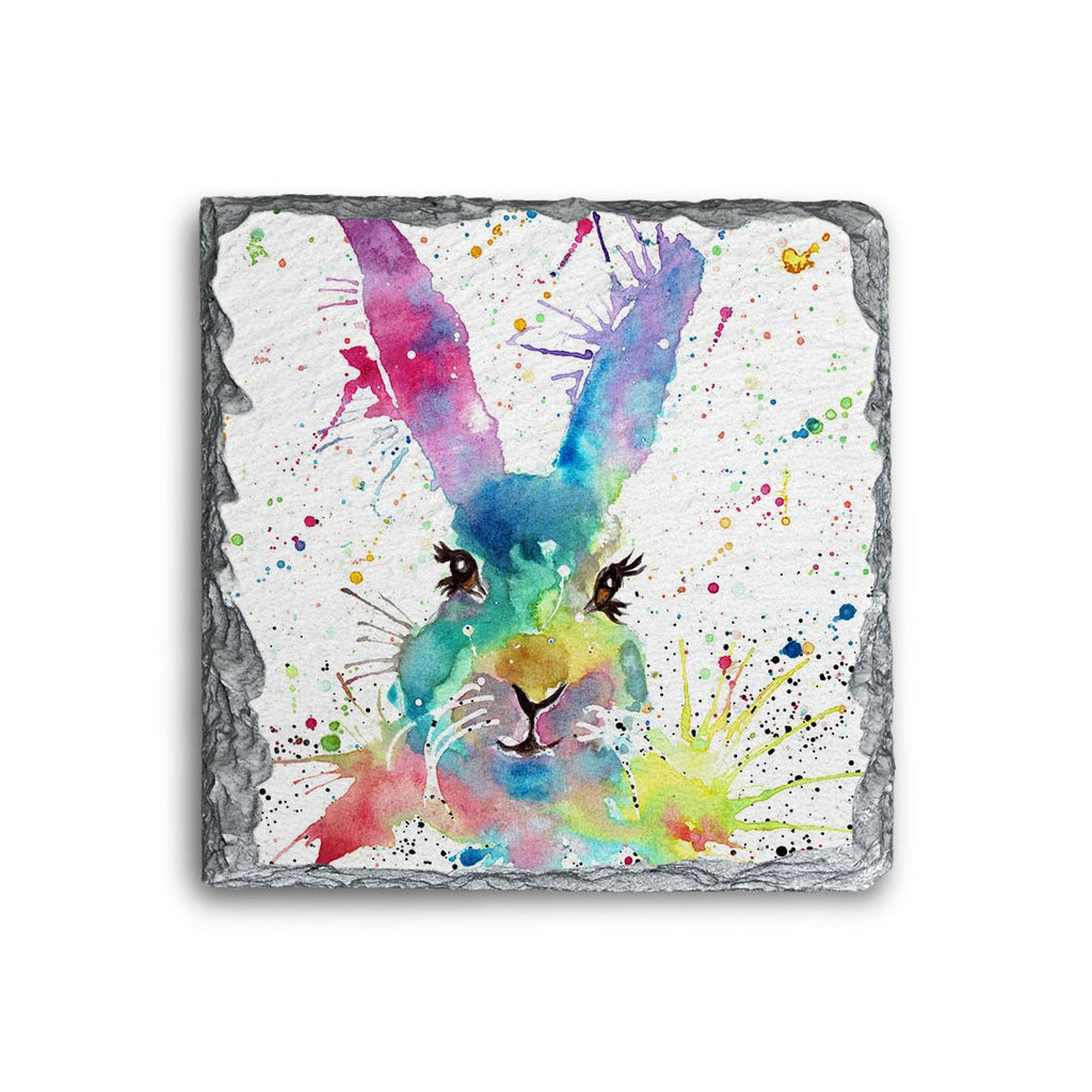 Summer Hare Square Slate Coaster