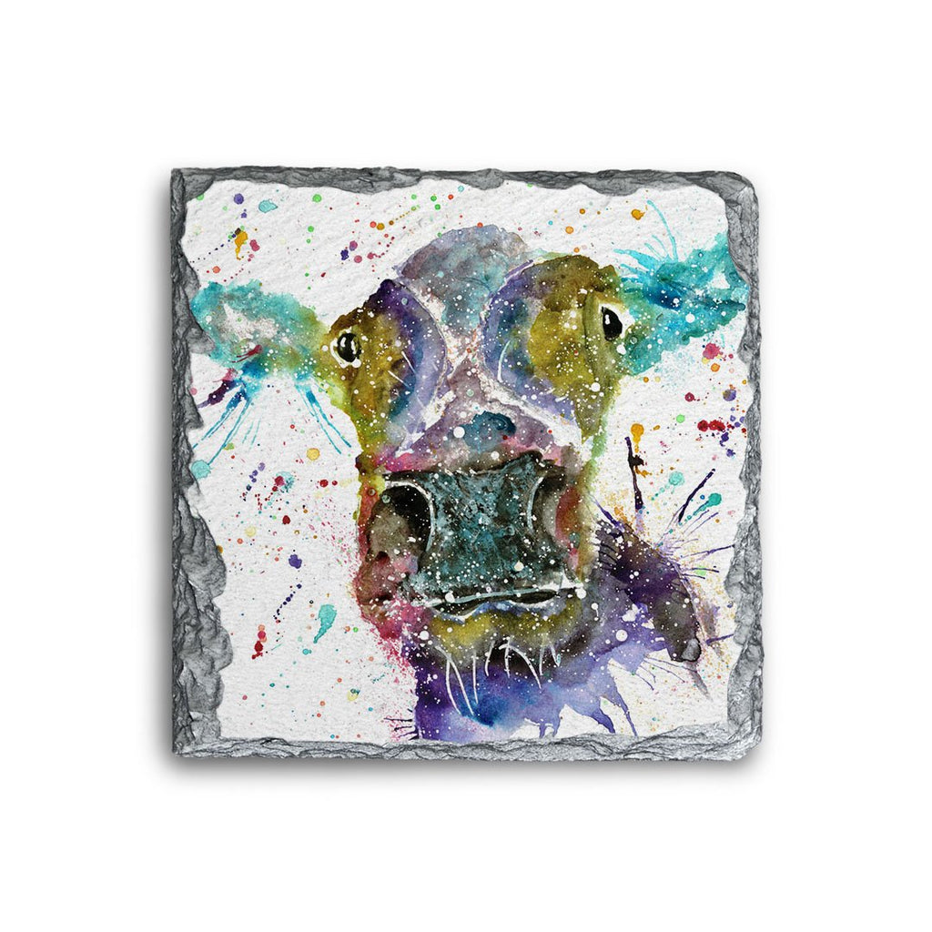 """Daisy"" Cow Square Slate Coaster"