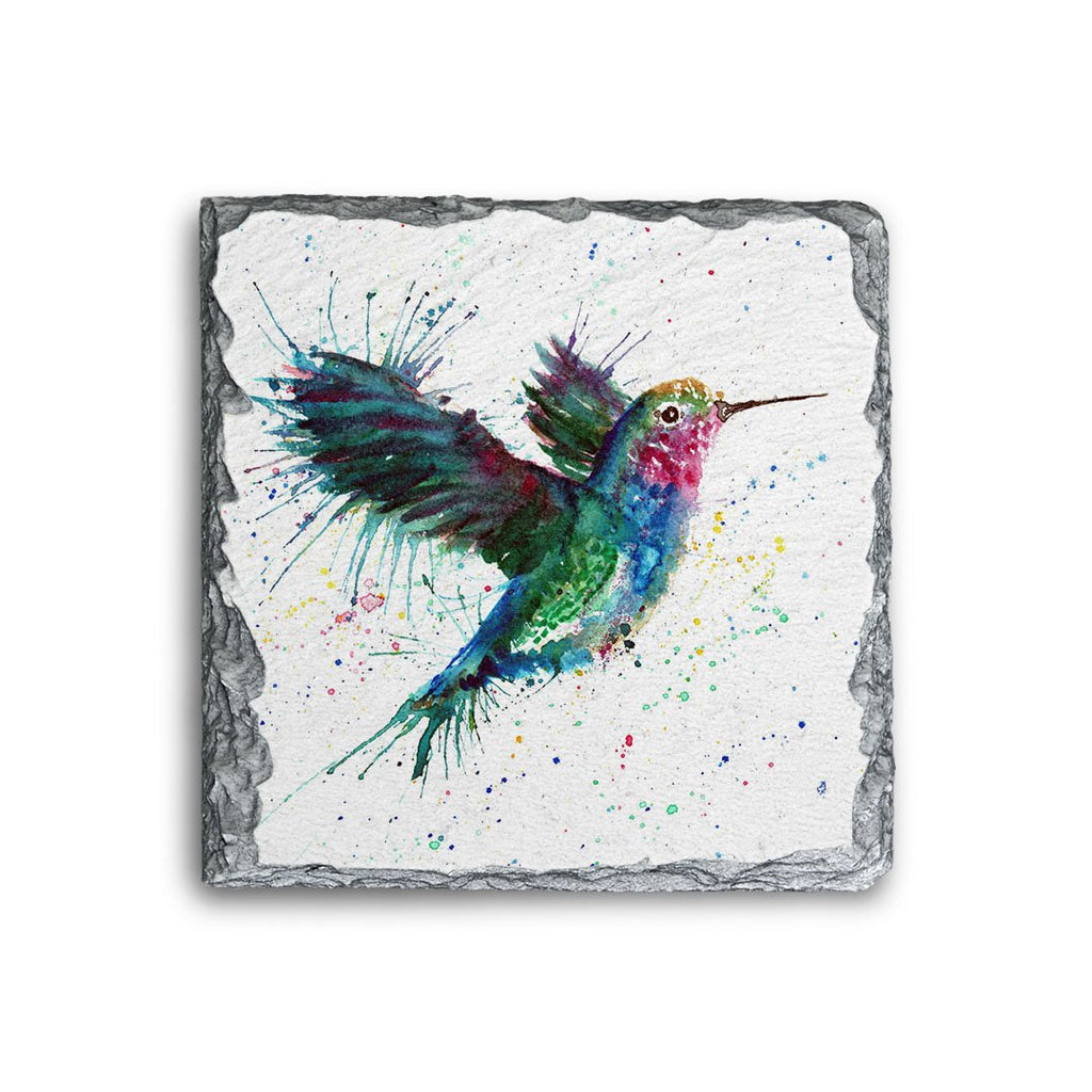 """Sue"" Humming Bird Square Slate Coaster"