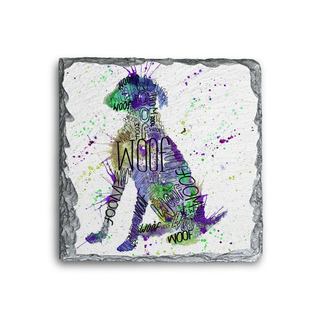 """Woof"" Purple Square Slate Coaster"