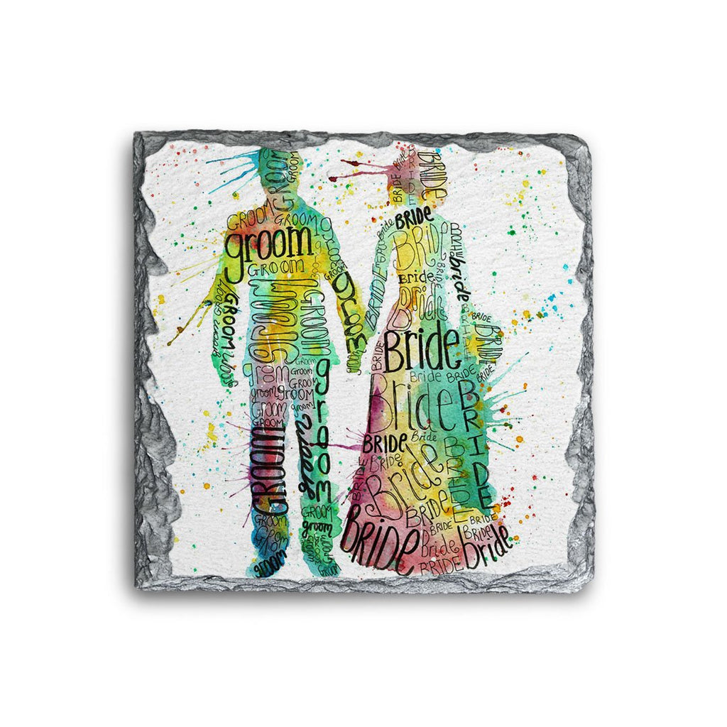 Bride & Groom Square Slate Coaster