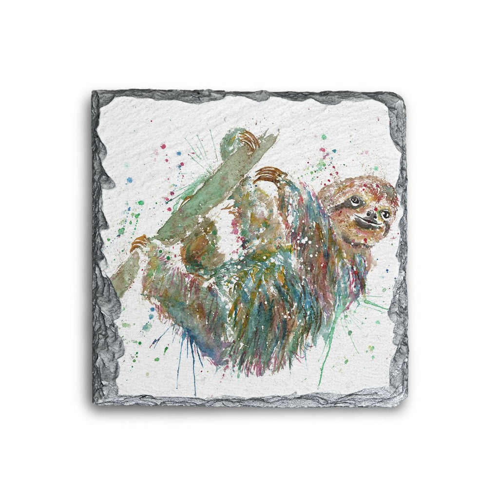 Hey Mr Sloth Square Slate Coaster