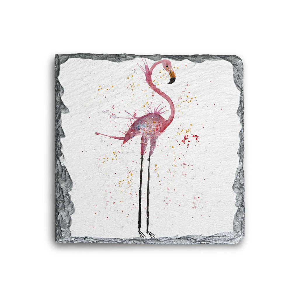 """Sheila"" Flamingo Square Slate Coaster"
