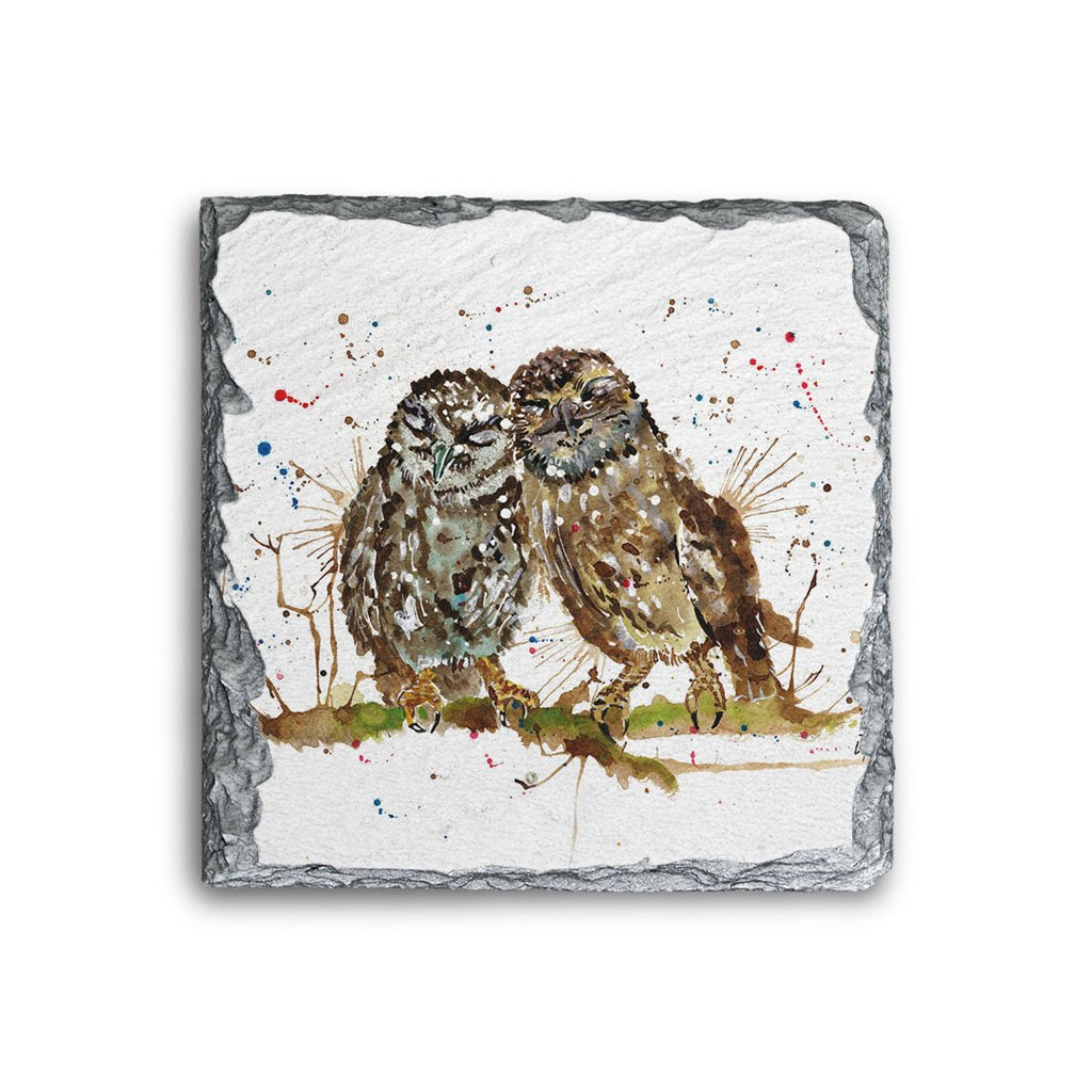 My Favourite Owl Square Slate Coaster