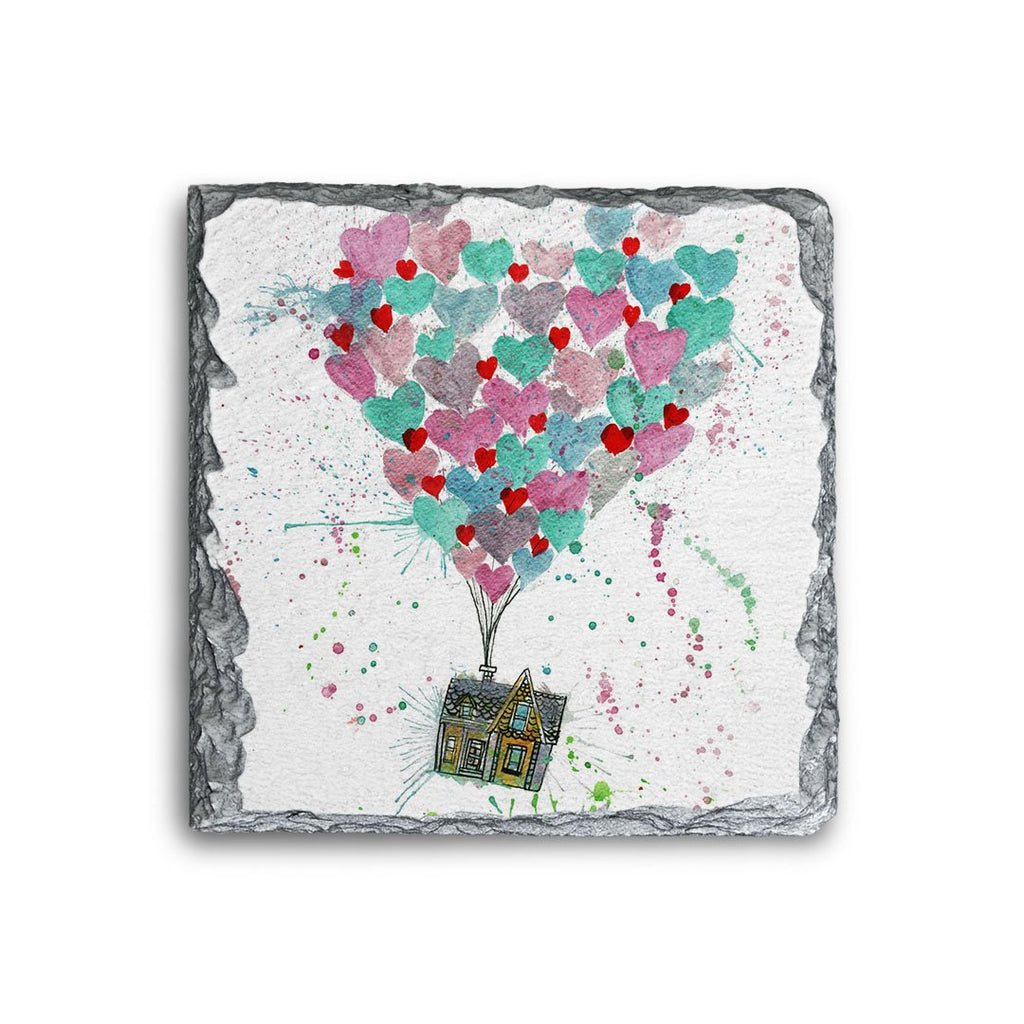 Valentines Up Square Slate Coaster