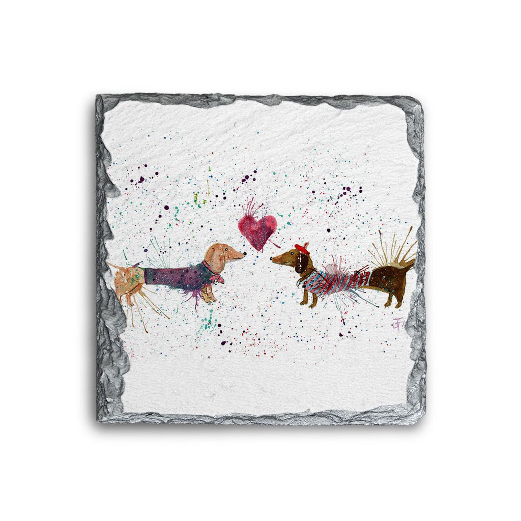 Sausage Dogs in Love Square Slate Coaster