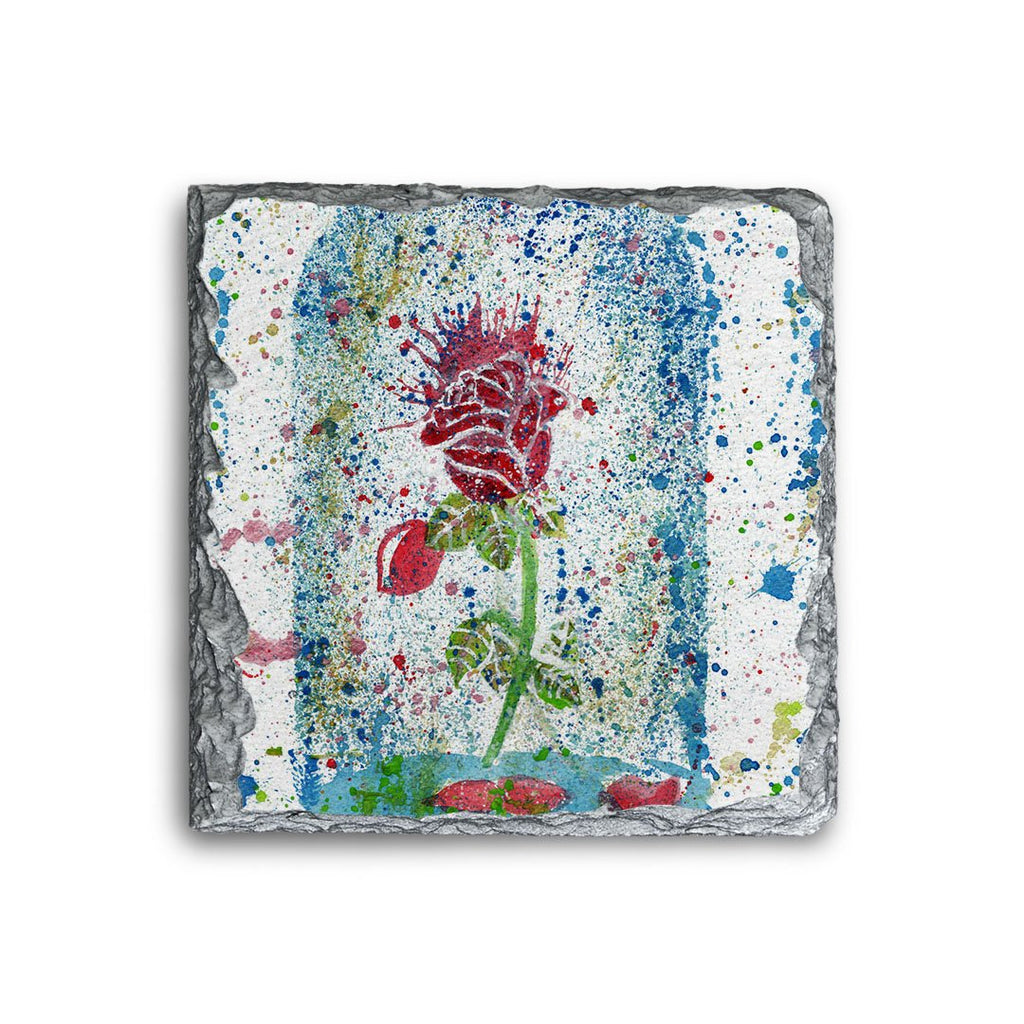 Magic Rose Square Slate Coaster