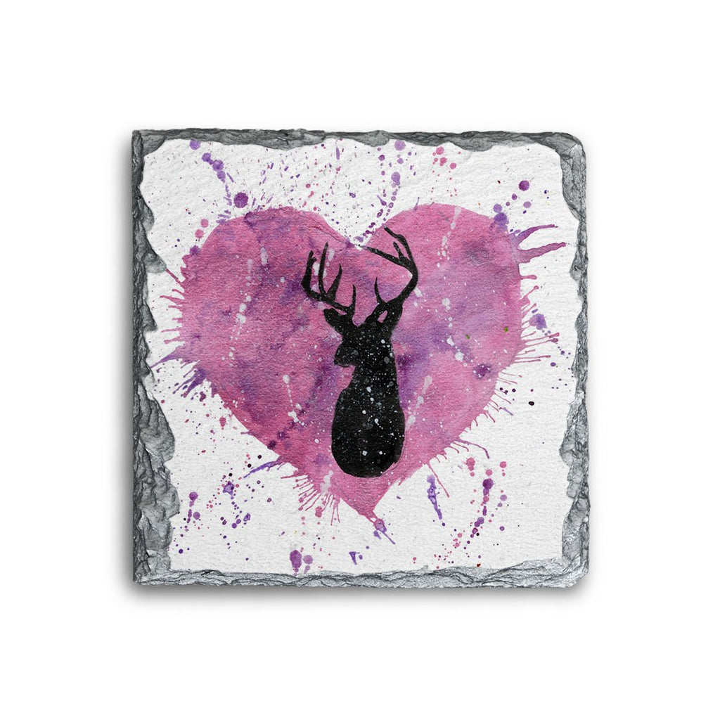 Stag Heart Square Slate Coaster