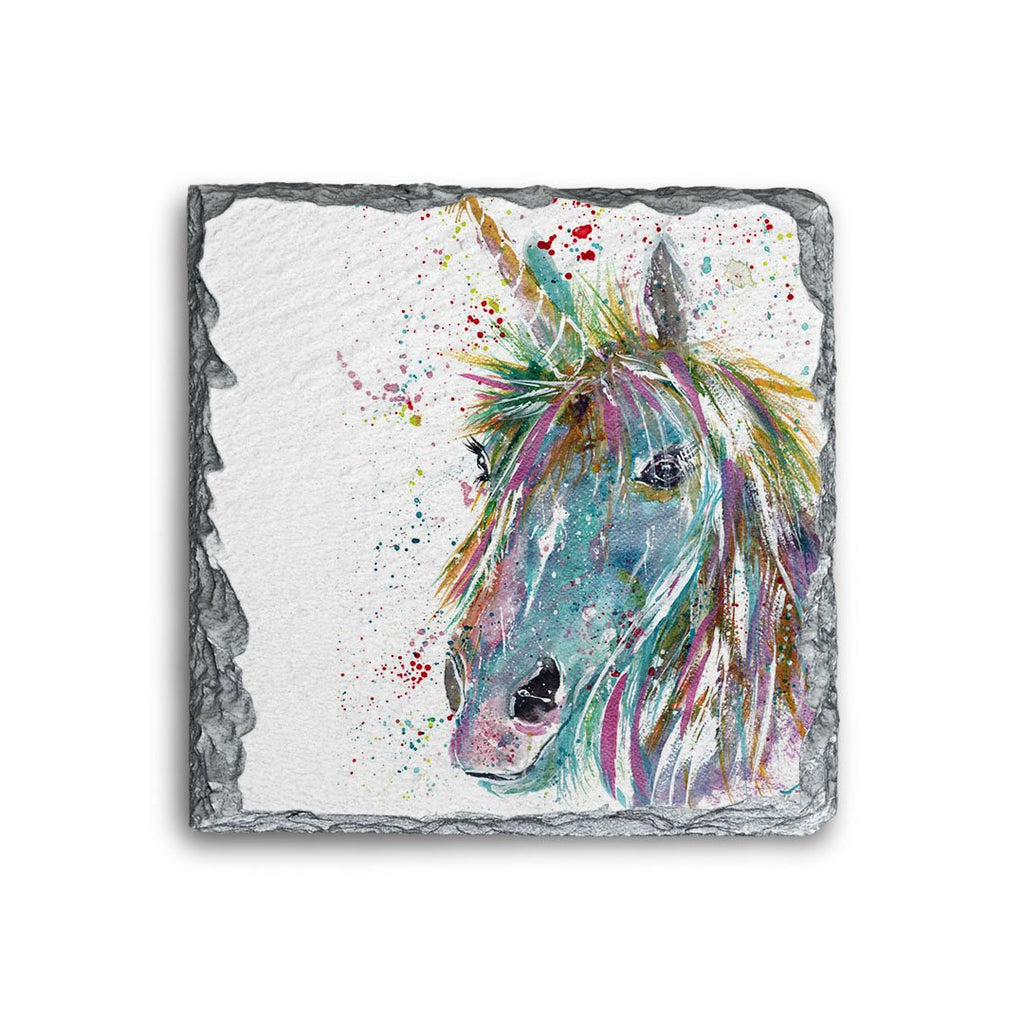 """Millie"" Unicorn Square Slate Coaster"
