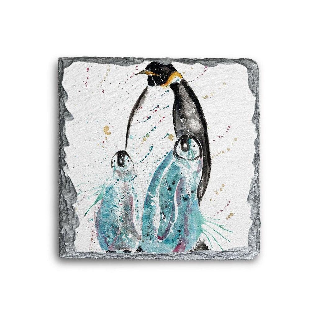 """My Love"" Penguins Square Slate Coaster"