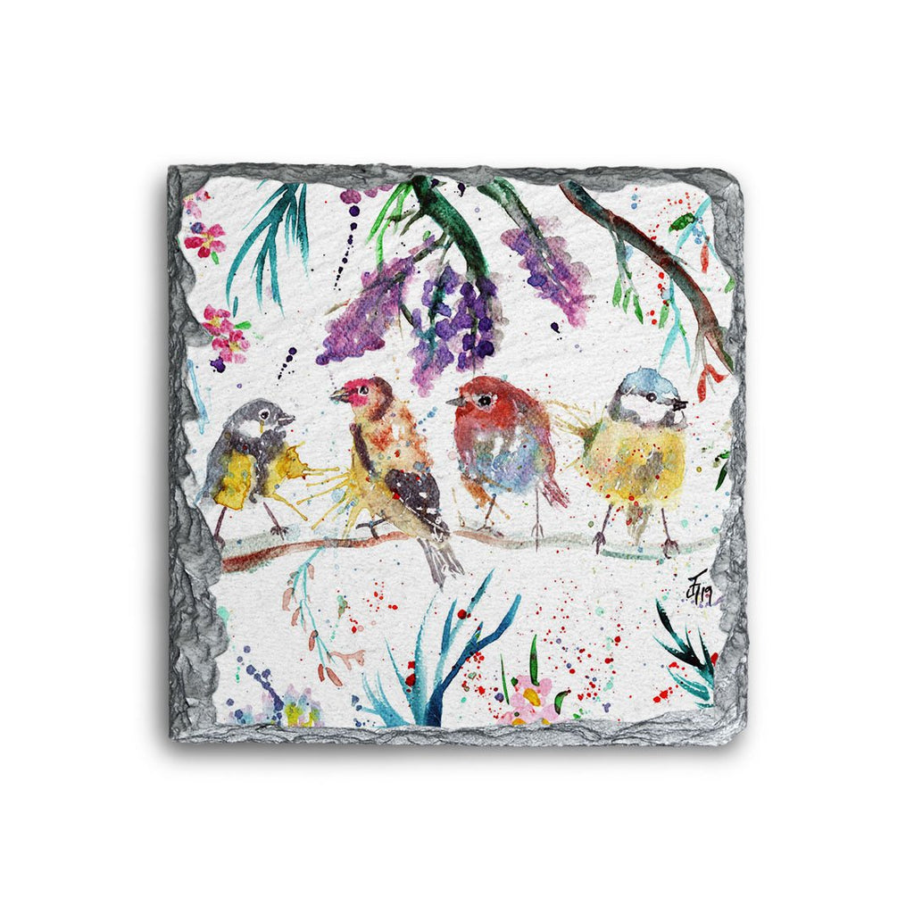 """Tree Friends"" Birds Square Slate Coaster"