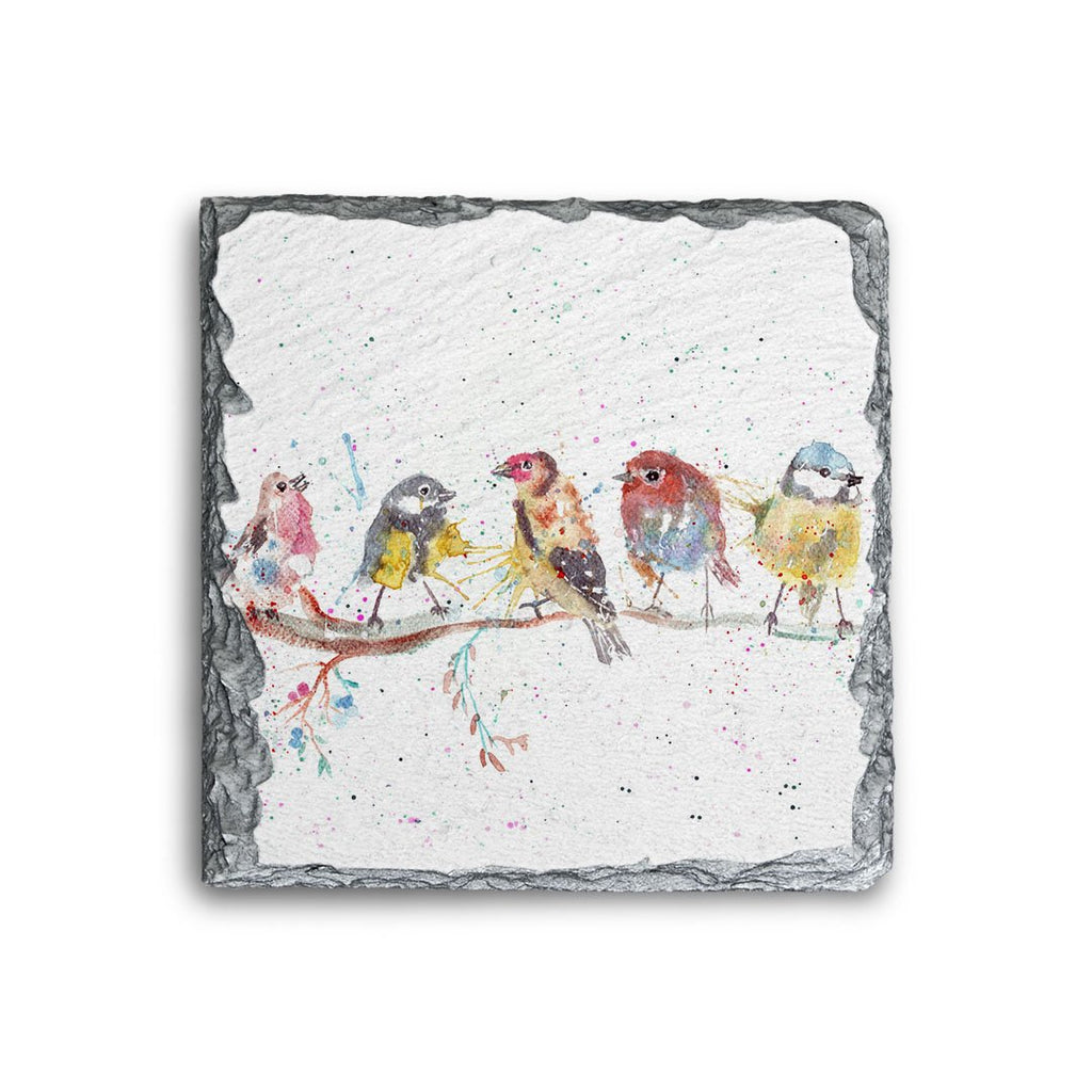 """Tree Friends"" Birds 2 Square Slate Coaster"