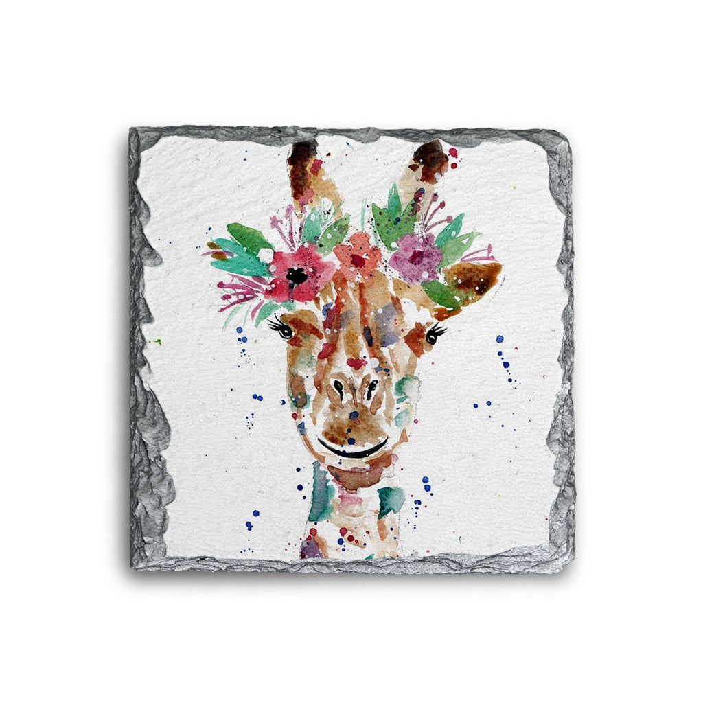"""Margot"" Giraffe Square Slate Coaster"