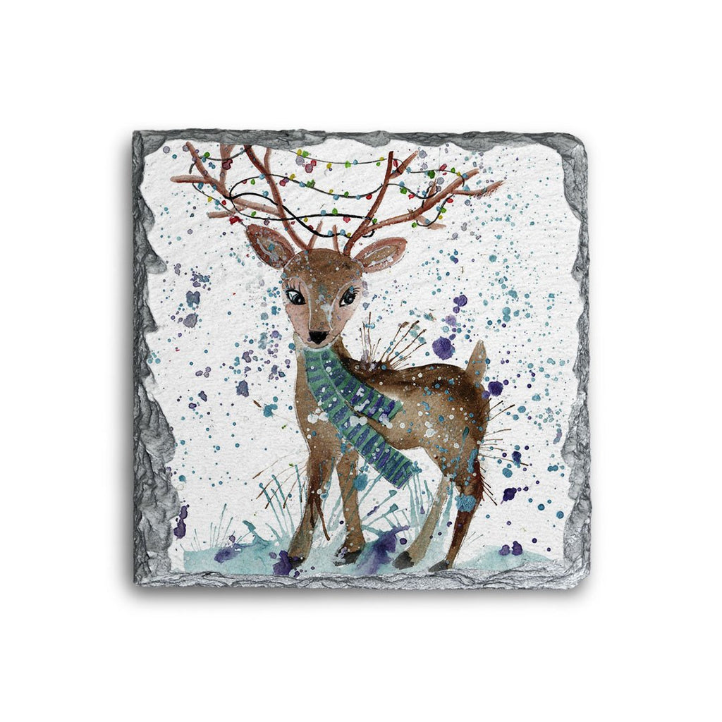 """Winter"" Deer Square Slate Coaster"