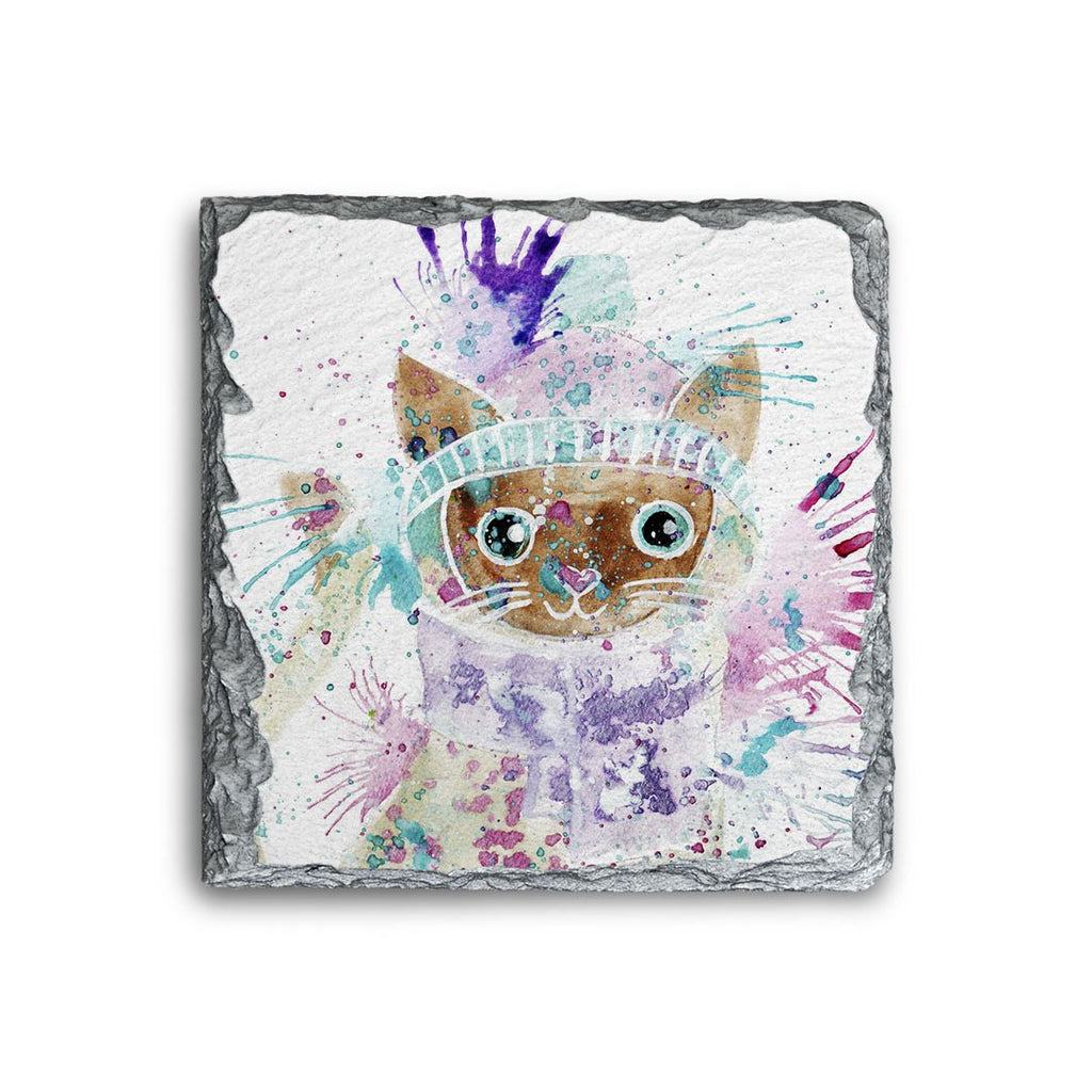 """Colin"" Cat Square Slate Coaster"