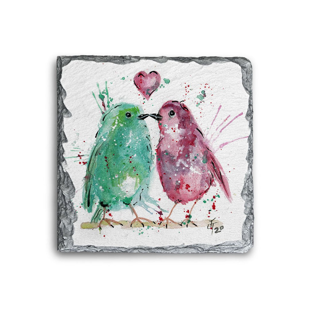 Tweet Heart Square Slate Coaster