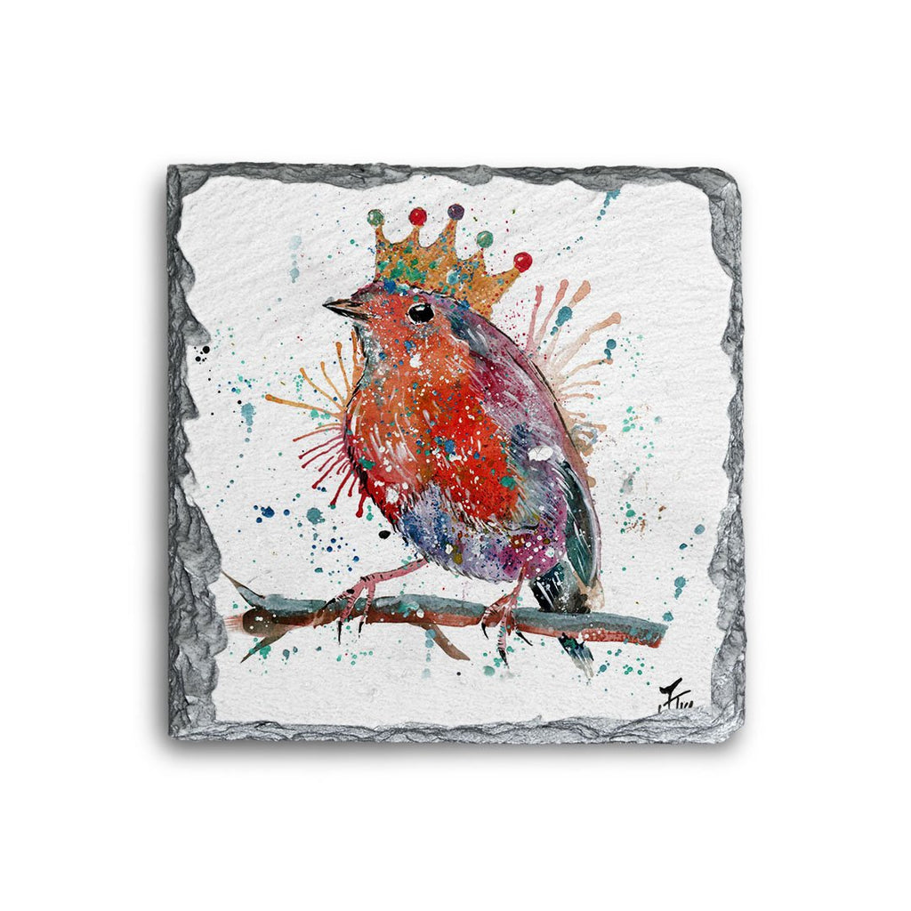 """Clancy"" Robin Square Slate Coaster"