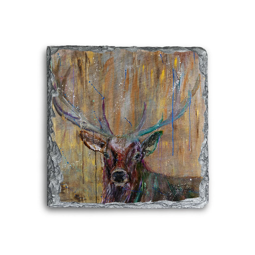 """Illustrious"" Stag Square Slate Coaster"