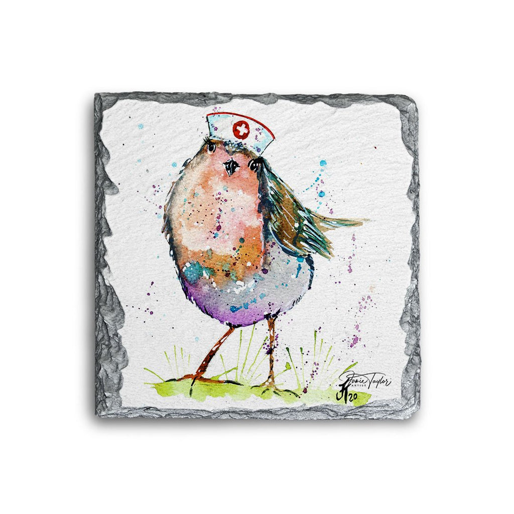 """Saviour"" Robin Square Slate Coaster"